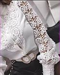 Блуза жіноча біла з бавовняним мереживом, фото 2