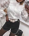 Блуза жіноча біла з бавовняним мереживом, фото 5