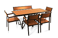 """Комплект меблів для літніх кафе """"Брістоль"""" стіл (160*80) + 2 стільця + лавка Твк, фото 1"""