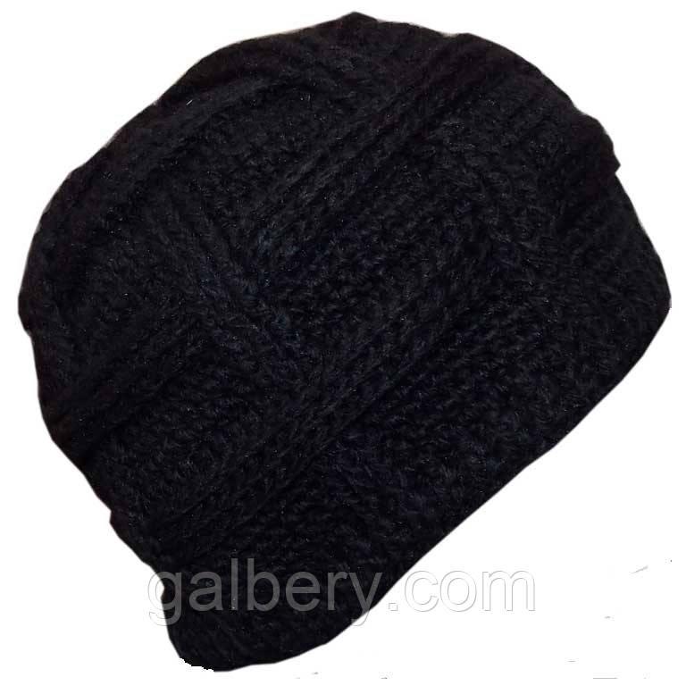 Мужская вязаная шапка объемной ручной вязки