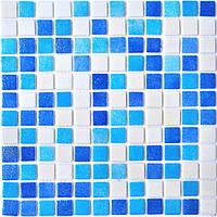 Мозаика MX25-1/01-2/02/03 белая голубая синяя микс облицовочная для ванной, душевой, кухни