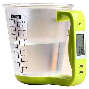 Весы кухонные мерный стакан электронные настольные A-PLUS до 1 кг для кухни
