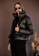 Женская кожаная куртка демисезонная весенняя осенняя   Пуховик женский кожаный весна осень ЛЮКС качества