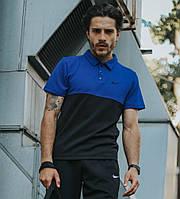 Поло мужское Nike, стильная футболка с воротником из трикотажа синяя, реплика