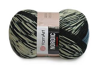 YarnArt Nordic, №650 серо-сине-черный