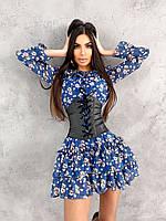 Шифоновое платье с рюшами на подкладке + корсет PS 15289. Размер S