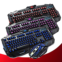 Клавіатура V-100P + мишка - ігровий комплект дротова клавіатура з 3-ма підсвічуваннями + миша (R15), фото 3