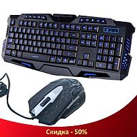 Клавіатура V-100P + мишка - ігровий комплект дротова клавіатура з 3-ма підсвічуваннями + миша (R15), фото 5