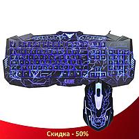 Клавиатура V-100 + мышка - игровой комплект проводная клавиатура + мышь с подсветкой молния (R13), фото 3