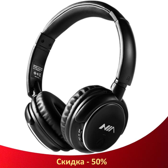 Беспроводные наушники NIA-Q1 4-в-1 - Bluetooth наушники с MP3 плеером, FM радио, гарнитура (R35)