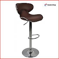 Барный стул высокий для барной стойки Кожаное барное кресло стильное со спинкой Bonro B-678 коричневый