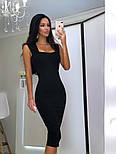 Женское силуэтное облегающее платье-миди на широких брителях черный, молоко, пудра, красный, фото 4