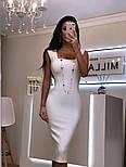 Женское силуэтное облегающее платье-миди на широких брителях черный, молоко, пудра, красный, фото 6
