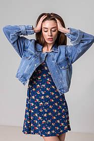 Стильная  короткая куртка-джинсовка  в голубом цвете с карманами в 3 размерах: S, M, L, XL.