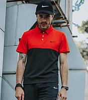 Поло мужское Nike, красная стильная футболка с воротником из трикотажа, реплика