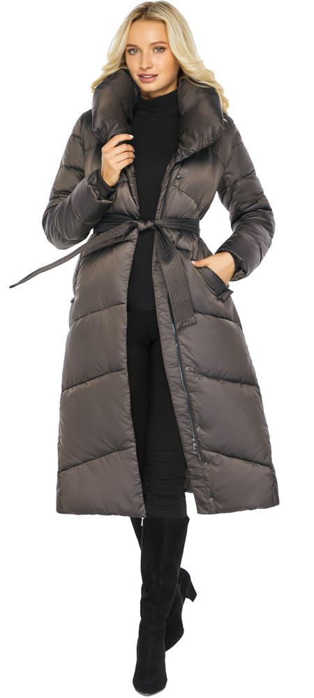 Капучиновая куртка жіноча з брендового фурнітурою модель 47260