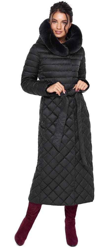 Женская куртка стеганая цвет черный модель 31012