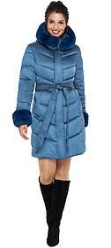 Аквамаринова жіноча куртка трендова модель 31068