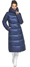 Тепла жіноча куртка колір синій оксамит модель 45085