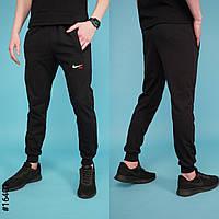 Мужские спортивные трикотажные штаны Nike размеры 46-52 норма на манжете ростовка чёрные