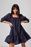Воздушное короткое хлопковое платье свободного кроя с рукавом-фонариком в 3 цветах в размере S/M, M/L., фото 5