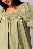 Воздушное короткое хлопковое платье свободного кроя с рукавом-фонариком в 3 цветах в размере S/M, M/L., фото 2