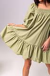 Воздушное короткое хлопковое платье свободного кроя с рукавом-фонариком в 3 цветах в размере S/M, M/L., фото 4