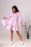 Воздушное короткое хлопковое платье свободного кроя с рукавом-фонариком в 3 цветах в размере S/M, M/L., фото 10