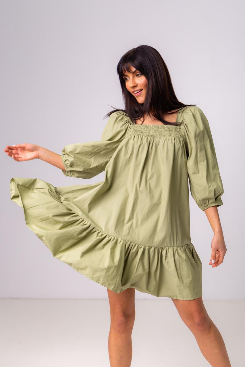 Воздушное короткое хлопковое платье свободного кроя с рукавом-фонариком в 3 цветах в размере S/M, M/L.