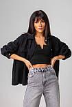 Стильная джинсовая куртка-рубашка в черном и молочном цвете с карманами в 4 размерах: XS/S, S/M, M/L., фото 3
