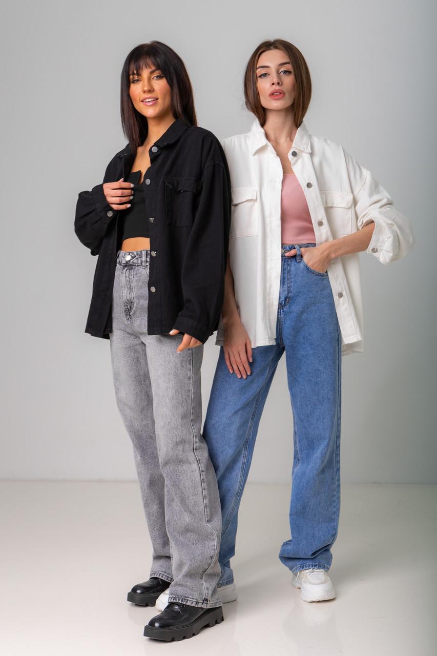 Стильная джинсовая куртка-рубашка в черном и молочном цвете с карманами в 4 размерах: XS/S, S/M, M/L.