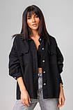 Стильная джинсовая куртка-рубашка в черном и молочном цвете с карманами в 4 размерах: XS/S, S/M, M/L., фото 6