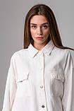 Стильная джинсовая куртка-рубашка в черном и молочном цвете с карманами в 4 размерах: XS/S, S/M, M/L., фото 10