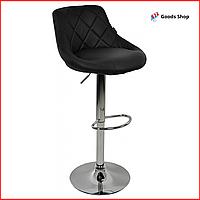 Барный стул высокий для барной стойки Кожаное барное кресло стильное со спинкой Bonro B-801B черный