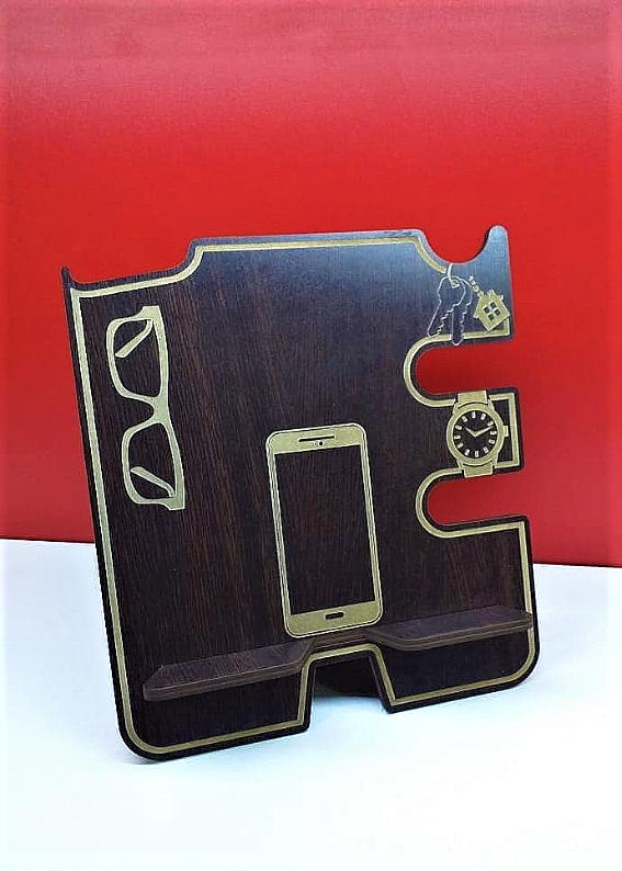 Організатор настільний дерев'яний для телефону, годинників, окулярів, ключів