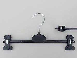 Длина 30 см. Плечики вешалки пластмассовые с прищепками зажимами для брюк и юбок V-B30 черные