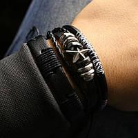 Браслет кожаный мужской CORBONA star комплект