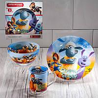 """Набор посуды для детей «Барашек  Шон"""" 3-х предметный. (Тарелка 195 мм, пиала 320 мл, чашка 250 мл)."""