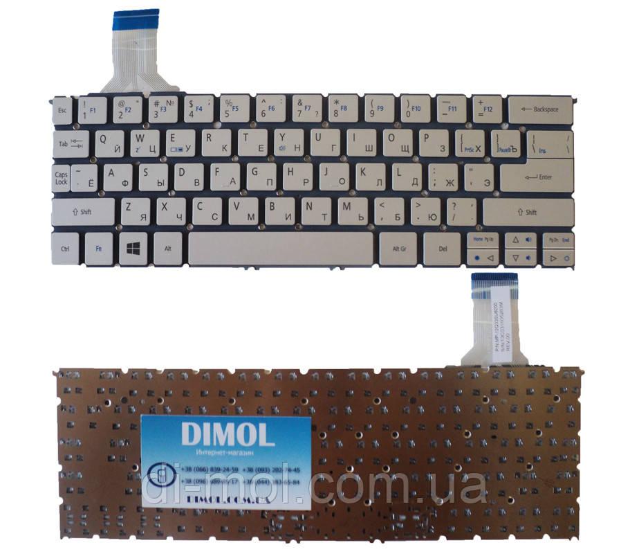 Оригинальная клавиатура для ноутбука Acer Aspire P3-171, P3-131 rus, silver