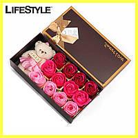 Подарочный набор мыла из роз ROSE BEAR / Мыло ручной роботы + Мишка
