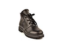 Кожаные ботинки подростковые демисезонные черные