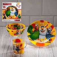 "Набор посуды для детей «Буба"" 3-х предметный. (Тарелка 195 мм, пиала 320 мл, чашка 250 мл)."