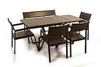 """Комплект садовой мебели """"Бристоль"""" стол (160*80) + 4 стула + лавка Венге"""