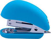 Степлер BUROMAX №24,26 (15арк) RUBBER TOUCH Міні пластиковий, блакитний