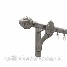 Карниз для штор металлический ОДЕОН однорядный 25мм РЕТРО 1.6м Цвет Сатин никель