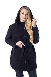 Стильное чёрное полупальто куртка с капюшоном