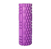 Масажний вал для спини фіолетовий 30х10 см, пінний масажний рол, ролик для розминки м'язів спини