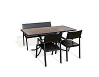 """Комплект садових меблів """"Брістоль"""" стіл (160*80) + 2 стільця + лавка Венге, фото 1"""