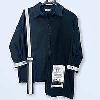 Рубашка женская черная ассиметричная Sogo батал 21-011