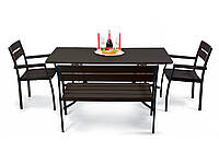"""Комплект садових меблів """"Стелла"""" стіл (120*65) + 2 стільця + лавка Венге, фото 1"""